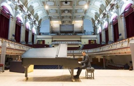 Bob in a giant fancy hall!